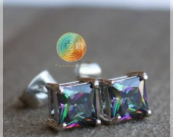 Mystic Topaz Earrings,Green Mystical Topaz Stud,Topaz Stud Earrings,Gemstone Studs,Square Earrings,Sterling Silver earrings,Rainbow topaz