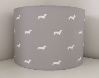 Hand made rolled-edge 'Grey Dachshund' fabric lampshade