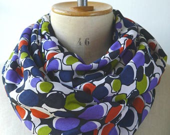 colorful infinity scarf, round viscose rayon scarf, circle scarf with colorful rounds, fabric cowl with dots, gift for her christmas