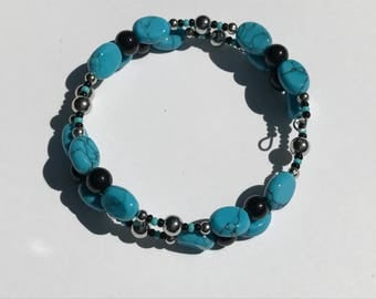 Black and Turquoise Memory Wire Bracelet