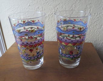 Set of 4 Sue Zipkin SWEET SHOPPE Glass Tumblers Glasses