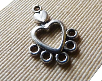 5 Hole Earring Connectors, Chandelier Connector, Necklace Connector, Heart Connector, Antiqued Silver Earring Connectors, Earring Findings