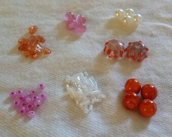 Bead Kit, Jewelry Kit, Craft Kit, Orange and Pink