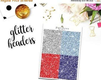 SALE/ STARS and STRIPES glitter headers/4th of July Planner Stickers for Erin Condren/Happy Planner/Personal Planner /Weekly Kit/Header Kit