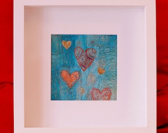 Where the heart is - mixed media and textile artwork -