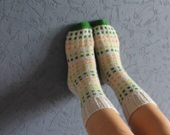 Hand knit socks Girls socks Knit knee socks Leg warmers Hiking socks Knitted wool socks Unusual socks Boot cuffs  Boot warmers Travel socks