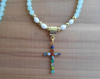 """New Jerusalem Necklace, Gemstone Cross Necklace, Revelation 21 Necklace, 21"""" Aventurine Necklace"""