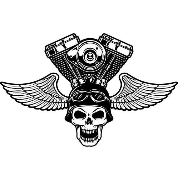 motorcycle logo 2 skull engine wings bike biker mechanic