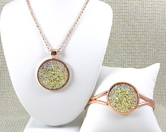 Champagne Druzy Jewelry Set - Necklace and Bracelet Set - Druzy - Bridesmaid Gift - Wedding Jewelry - Champagne Necklace - Bridesmaid Jewel