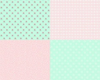 1 yard Tasha Noel A Little  Sweetness Fat Quarter mint panel cotton fabric, from Riley Blake Designs