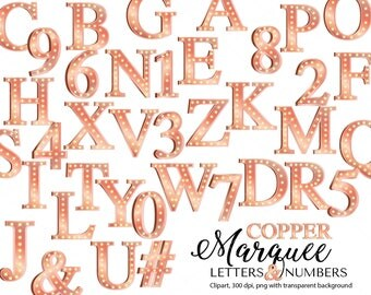 Copper Marquee letters and Numbers clipart