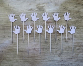 Light Pink Handprint Cupcake Topper 12 Count baby shower party decor toothpick birthday girls