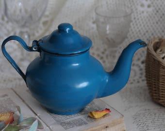 Vintage French Small Blue Enamel Teapot