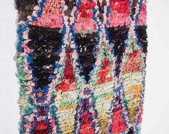 Boucherouite rug | Boucherouite | rag rug | berber rug | teppich | geometric rugs | Moroccan rug | colorful rug H80