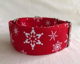 Snowflakes on Red Martingale Dog Collar