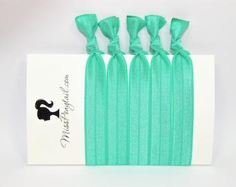 Green Hair Ties, Tropical, Bulk Hair Ties, Knotted Hair Ties, Yoga Hair Ties, Handmade Hair Ties, Ponytail Holders, Elastic Hair Ties