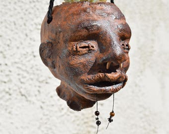 Pottery Planter, Ceramic Hanging Planter, Handmade Planter, Plant Pot, Small Planter, Shrunken Head: Paco