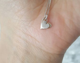 Silver heart pendant. Chocer. Gift for her