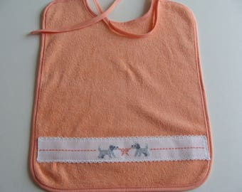 Baby embroidered stitch counted apricot puppies pattern Terry bib