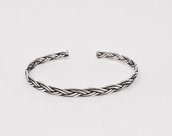 Sterling Silver Plaited  Oxidised Bangle