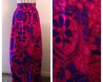 On Sale Vibrant Vintage Purple and Blue Floral Skirt