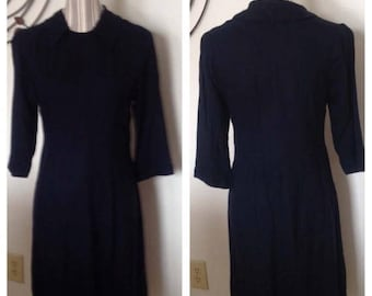 On Sale Vintage Navy Blue Dress with Removable Collar