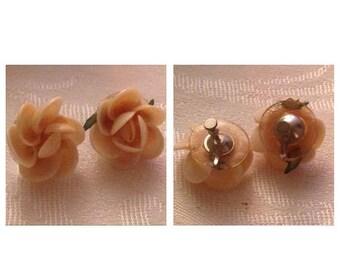 On Sale Gorgeous Pale Pink Vintage Rose Earrings