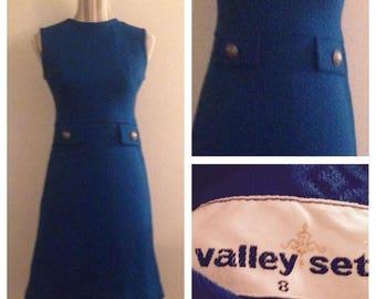 On Sale Vintage 60's Vibrant Blue Dress By Valley Set