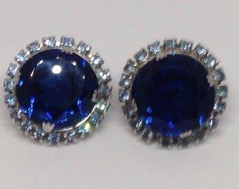 Anniversary Sale Gorgeous Vintage Blue Rhinestone Clip Earrings