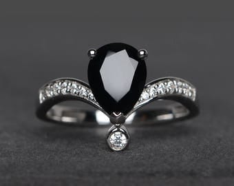 natural black spinel ring anniversary ring pear cut black gemstone sterling silver ring