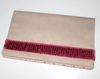 Checkbook suede beige and pink sequined band holder