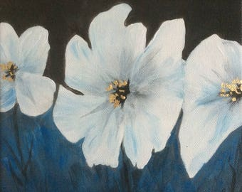 White flowers - original acrylic painting on canvas