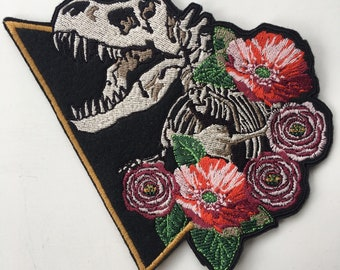 Skeleton Dinosaur Tyrannosaurus Rex TRex Embroidered Iron On Patch