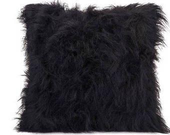 Black Faux Fur Throw Pillow Cover