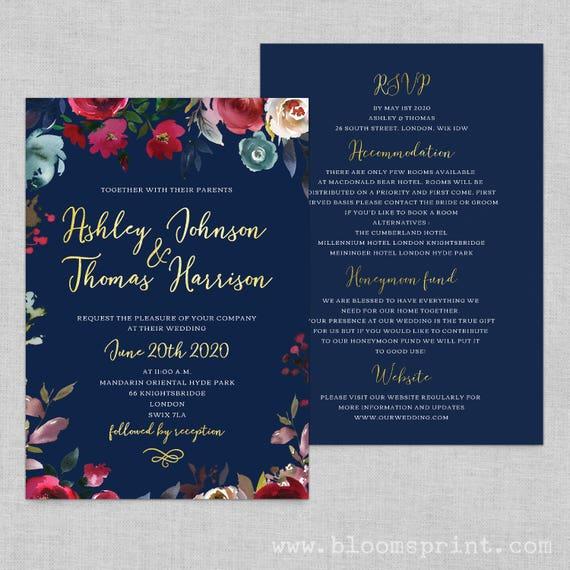Marsala wedding invites, Wedding invitations navy gold, Navy gold printable invitation, Wedding invitation set printable invitations, A5