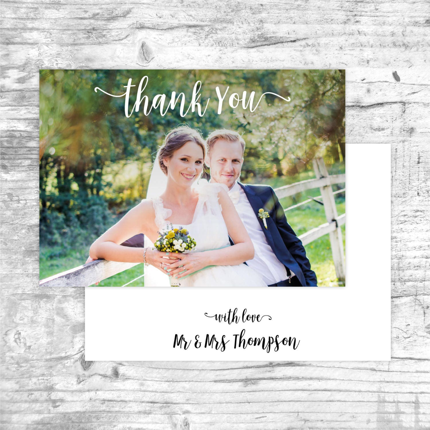 Thank You Cards Wedding Photo Pack From Mr And Mrs Modern A6