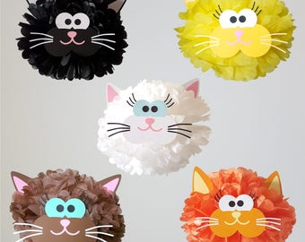 Cat Party Decoration Pompom/Cat Theme/Kitty Birthday Party Supplies/Old MacDonald/Farm Animals/Hello Kitty Party Pom Pom decoration