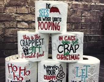 Hard to shop for Unique Christmas Gift Embroidered Toilet Paper, Gag Gift, White Elephant gift, Holiday Gift Exchange, Stocking Stuffer