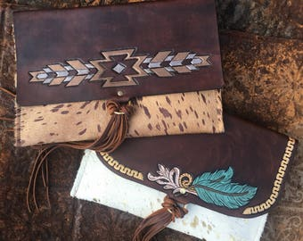 Hand tooled Leather CF Clutch