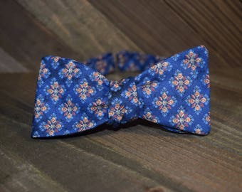 Blue Patterned Self Tie Bow Tie