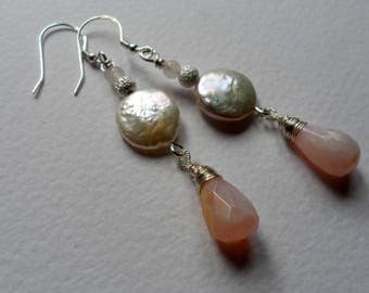 Pearl, Opal and Rose Quartz Drop Earrings.