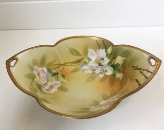 Vintage Hand Painted Nippon serving dish with gold trim