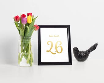 Gold Foil Table Numbers, Wedding Table Numbers, Table Numbers For Wedding, Table Number Cards, Script Table Numbers, Printable Table Numbers