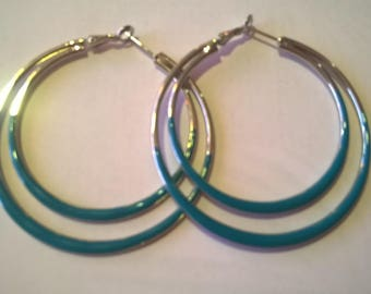 Blue and silver hoop ear ring