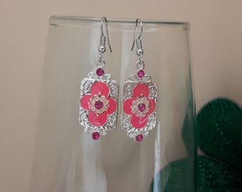 Earrings silver metal orange flower and rhinestone earrings