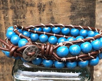 Wrap beaded bracelet blue or white beads on brown leather
