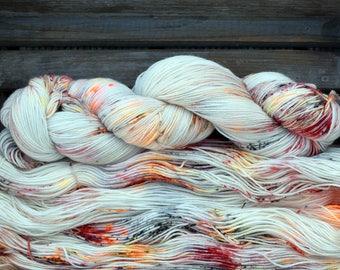 "Sock Yarn - ""Embers""  - Four Elements Theme - Merino / Nylon - Hand Dyed -  100g"