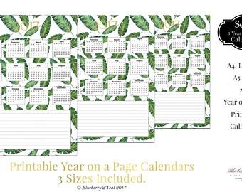 Printable Calendar 2017, Tropical Leaf Calendar, Printable Planner 2017,PDF,A4 UsLetter A5 Calendar,Printable Wall Calendar,Instant Download