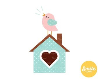 Songbird on Birdhouse Clipart Illustration for Commercial Use | 0205