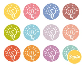 Doodle Light Bulb Round Icon for Commercial Use | 0281